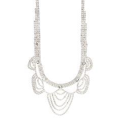 Vintage Crystal Scallops Statement Necklace