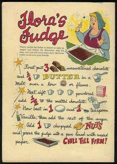 Sleeping Beauty-Here is the Floras Fudge Recipe card we used
