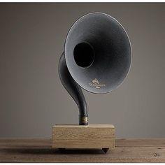 New-Bluetooth-Gramophone-Amplifying-Wireless-Iron-Brass-Horn-Speaker-Dry-Oak