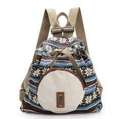 Women National Style Backpack Flower Pattern Shoulder Bags Satchel