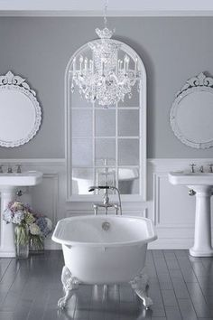 Cottage 3/4 Bathroom with Signature Hardware Cecilia Cast Iron Clawfoot Tub, Afina Radiance Mirror, Pedestal sink, Chandelier