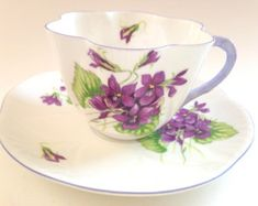 Violets Shelley Tea Cup and Saucer, Violets Tea Cups, Shelley Dainty, Vintage Teacups, Bone China Cups, Shelley Cups, Tea Set,