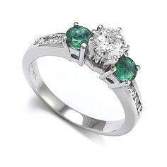 14k Gold Emerald Diamond Ring