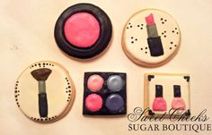 Makeup themed cookies to match the cake. Happy Birthday Jacey!