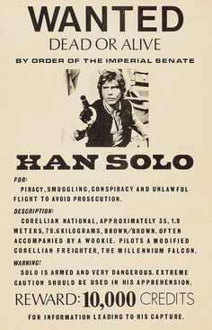 Han Solo Wanted Poster Star Wars Vintage  by ColorWheelPrints