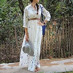 Patterned white maxi dress Long sleeves and can roll up. Chest button, elastic waist band. S-bust: 33-35 inches, length: 56-57 inches. M-Bust:35-37, length 56-57. L- bust 36-38, length: 57-58. NWOT. XL: bust 37-39 inches, length 57-58 inches Dresses Maxi