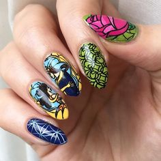 """Beauty & the Beast nails using #lojabbf 42 stamping plate. All colours by @sallyhansenuk, apart from black which is #konad special stamping polish. Thanks for sharing this plate @wildracu Without you I'd have never known my dream stamping images existed! ✨✨ I #"