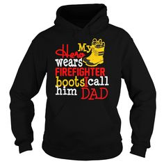 My Hero Wears Firefighter Boots I Call Him Dad Kids Hoodie