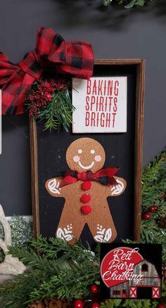Chalk Full of Fun! Gingerbread Christmas Decor, Christmas Craft Fair, Gingerbread Decorations, Christmas Kitchen, Christmas Signs, Gingerbread Man, Christmas Stocking, Christmas Home, Vintage Christmas