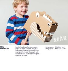 Love this on so many levels! Little roar head from flatout frankie is a fab gift for any creative kid