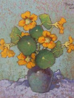 Conrad Theys (SA 1940 - ) Oil, Still Life Nasturtiums, Signed & Dated 30 x 25 Painting Still Life, Paintings I Love, Watercolor Paintings, Floral Paintings, Art Floral, Plant Painting, South African Artists, Abstract Flowers, Art Plastique