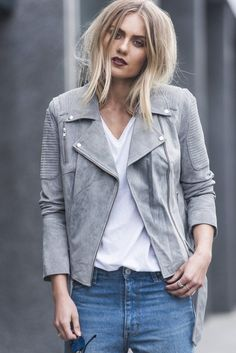 Spring fashion - ENA PELLY CLASSIC BIKER JACKET IN GREY SUEDE The Ena Pelly Suede Biker Jacket is crafted from soft suede and lined with satin fabric. Sophisticated ribbed panelling detail on shoulder sides and front gives this classic silhouette timeless