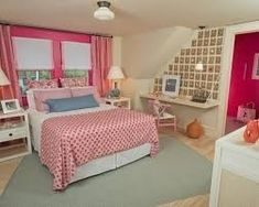 A Chic Pink Beige Bedroom Idea For Girls With Pink Patterned Duvet And The White Classic Wooden Furniture Along With The Pink Folded Curtain And Overcast Lighting Interesting 50 Best Design Bedroom Ideas for Girls in Unique Projects Bedroom design Pink And Beige Bedroom, Hot Pink Bedrooms, Pink Bedroom Design, Teen Girl Bedrooms, Teen Bedroom, Simple Girls Bedroom, Teenage Girl Bedroom Designs, Romantic Bedroom Decor, Feminine Bedroom