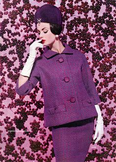 McCall's Pattern Fashions Fall/Winter 1960 - Dorothea McGowan, purple, / vintage fashion I still like this. Sixties Fashion, Retro Fashion, Vintage Fashion, French Fashion, 1950s Style, Vintage Mode, Vintage Glam, Vintage Style, Fashion History