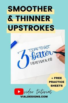3 helpful tips to get better calligraphy upstrokes and a FREE calligraphy practice worksheet | Modern Calligraphy for Beginners | How to improve your calligraphy #vialdesigns #learncalligraphy #learnlettering #moderncalligraphy #brushcalligraphy Calligraphy Pens For Beginners, Modern Calligraphy Tutorial, Hand Lettering For Beginners, Hand Lettering Tutorial, Calligraphy Practice, Brush Lettering Quotes, Helpful Tips, Typography, Articles