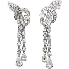 Pre-owned French Art Deco Waterfall Diamond Platinum Earrings ($35,000) ❤ liked on Polyvore featuring jewelry, earrings, accessories, brincos, dangle earrings, diamond jewelry, diamond dangle earrings, art deco diamond pendant, long diamond earrings and diamond earrings