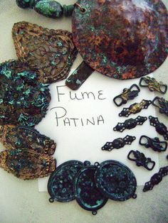 Lots and lots of Patina Recipes  Here's one:  Fume patina-  Dip item in vinegar, sprinkle w/ salt put it into a container w/ ammonia. Close & seal lid. You want the metal to be suspended above the ammonia so that the fumes create the patina, not direct contact.  You can also have a small open container of ammonia sitting inside the larger container that holds the metal pieces. can take up to 24 hours) rinse the metal and dry.