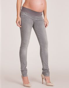Soft stretch denim Under bump band Chic gray denim    A celebrity favorite, our signature Gray Maternity Skinny Jeans have been worn by actresses Jessica Alba and Olivia Wilde. Made in our amazingly soft stretch denim, the gorgeous shade of gray is not only bang on the rock chic trend but also surprisingly slimming for a light shade of denim. With our super flattering back pocket design to lift your behind and our comfortable under bump band you won't believe these are maternity jeans.