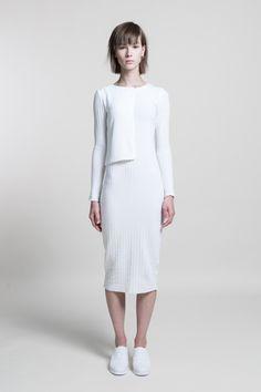 Panel Knitted Tube Dress #Black #Navy #CreamWhite #nuditefashion #nudite #design #white #line #minimal #minimalist #simple #pale #plain #AW