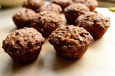 Pioneer Woman Muffins.  WHIT'S THOUGHTS:  SO good!  Especially warm out of the oven.  Healthy, too!  THINGS I CHANGED:  I quadrupled the recipe to use up some ingredients.  I used 2 cups greek yogurt and 2 cups regular milk instead of 4 c buttermilk.  I also used 1/2 c molasses and 1/2 c buckwheat honey.  I added one more banana for a total of 5.  And I omitted the walnuts.  They turned out great!