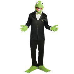 günstige faschingskostüme kermit-frosch-muppets-anzug-schwarz