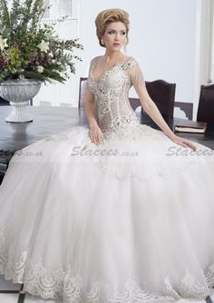 Ball Gown Cap Sleeve V-Neck Beaded Open-Back Floor-Length Bridal Gowns https://www.stacees.co.uk/ball-gown-cap-sleeve-v-neck-beaded-open-back-back-tulle-floor-length-bridal-gowns-s10105503.html