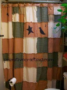 DIY Primitive Shower Curtain! Rag Style. Free Printable Appliques.  --  yahoo this is sooo my guest bathroom yahooooooooo