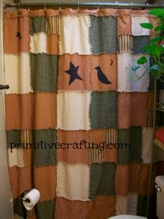 DIY Primitive Shower Curtain! Rag Style. Free Printable Appliques.    Yahoo  This