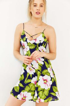 Lucca Couture Strappy Neck Chiffon Skater Dress - Urban Outfitters