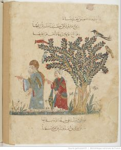 folio 37v, maqama 14. Abu Zayd and his son