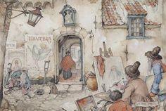 An artist at work by Anton Pieck