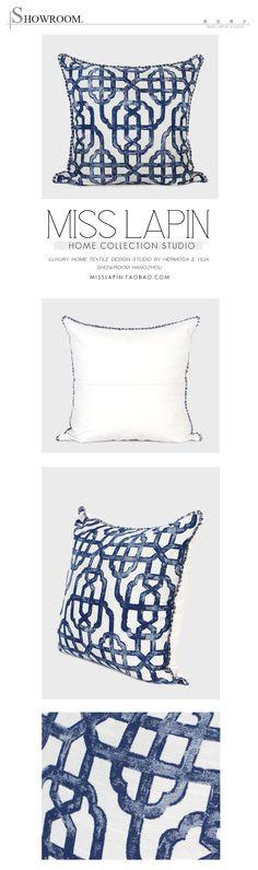 新中式/样板房家居软装沙发靠包抱枕/蓝色古典几何图案流苏方枕-淘宝网