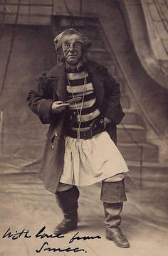 """A full length portrait of George Shelton as Smee in in the first stage production of Peter Pan or The Boy Who Wouldn't Grow Up. The play opened on December 27, 1904 at the Duke of York's Theatre in London. Shelton signed this photograph as """"Smee""""."""