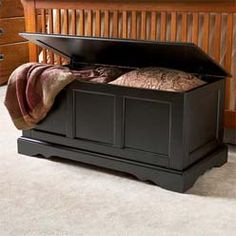 Oak Foyer Bench Wood Padded Storage Trunk Mudroom Bedroom Hope ...