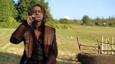 Rumple taking a swig