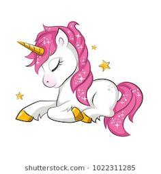 Little pink magical unicorn. Vector design on white background. Print for t-shirt. Romantic hand drawing illustration for children.