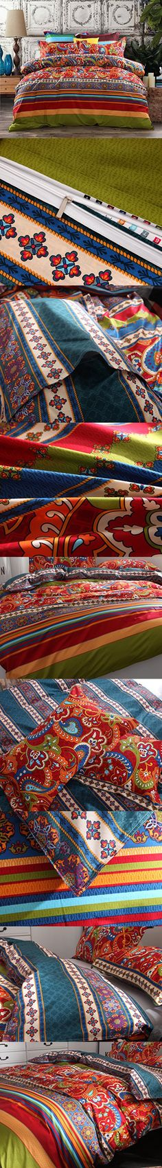 3-Piece Bohemian Ethnic Retro Multi Color Bedding Sets/Collections,Morocco Boho Chic Stripe Duvet Cover Sets with Shams,Turquoise and Tangerine,for Home Decor,Queen
