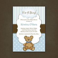 Baby Shower Teddy Bear Invitations   Boy Teddy Bear Baby Shower Invitation Printable File