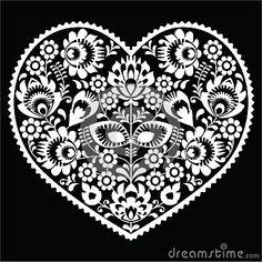 Modelo blanco polaco del corazón del arte popular en el negro - lowickie wzory, wycinanka