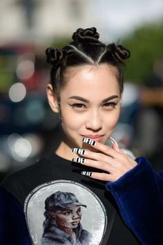Kiko Mizuhara, London Wow talk about world wide influence, 90s hiphop fashion. She has the sideburn waves and everything.