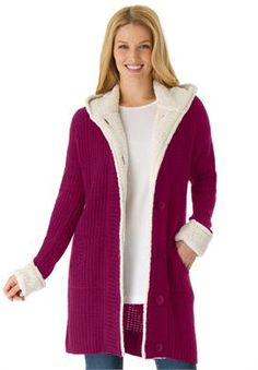 Plus Size Hooded sweater jacket with Berber fleece trim #giftsforher #plussize #womanwithin