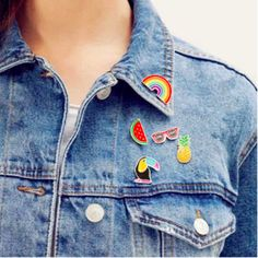 5PCS Cute Shirt Collar Brooch Decor