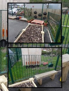 "Some of the current storage outdoors - chicken wire with S Hooks and hanging baskets. from Rachel ("",)"