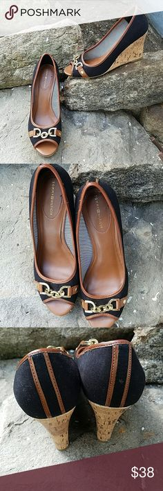 Tommy Hilfiger Wedges No box. Worn once. Adorable brown and black cork wedges with gold accents. Small chip in material on front of left shoe but not noticeable when wearing. Size 8.5M runs tts Tommy Hilfiger Shoes Espadrilles