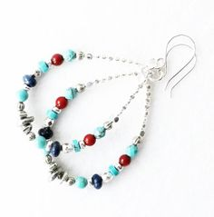Turquoise Red Coral Lapis Sterling Silver Earrings by connectionsbymaya, $28.00 #southwestearrings #southwesthoops #turquoisesouthwestearrings #nativeamericanearrings #turrquoisesilverearrings #turquoiseearrings #redcoralearrings #lapisearrings #earringsgiftideaforher #springearringstrends