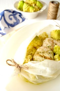 Hake {in papillote} with Romanesco Broccoli