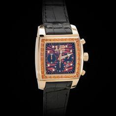 "Chopard 18K RG ""Two o Ten"" Chronograph. Flawless Baguette Fancy Sapphire Unisex #Chopard"