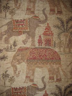 Woven Upholstery Fabric Dancing Elephants Chenille 1YD