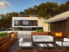 Natursteinwand Pool Holzterrasse Exotisch   Ofuro   Pinterest ... Dachterrasse Gestalten Stadtoase Wasserspielen Miami