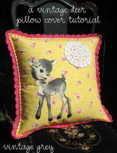 vintage grey: a vintage deer pillow cover tutorial